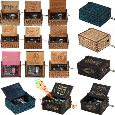 Various Wooden Hand Crank Engraved Harry Potter Music Box Handmade Gifts US POST