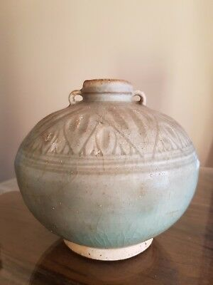 """Longquan shipwreck pottery CELADON VASE 5 1/2"""" TALL early Ming DYNASTY (1400)"""