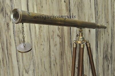 Antique Collectible Brass Telescope Nautical With Brown Wooden Tripod Stand Gift