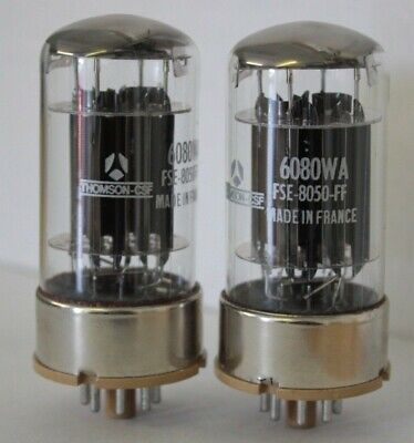 6080WA 6080 Thomson logo matched pair 2 pieces NOS tube valve
