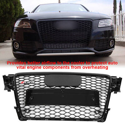 Honeycomb Type Mesh Gloss Black Front Grill for Audi A4/S4 B8 2009-12 RS4 Style