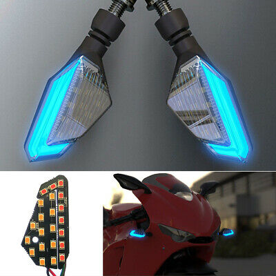 2pcs Motorcycle Blue+Yellow LED Turn Signal Light DRL Daytime Running Lamp