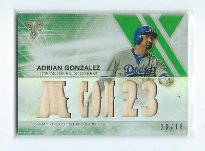 2015 Topps Triple Threads Adrian Gonzalez Los Angeles Dodgers Game Used Bat 3/18