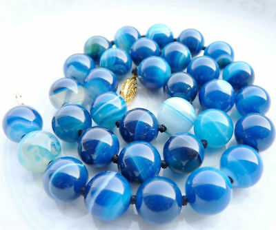 8/10/12Mm Antique Art Deco Genuine Rare Blue Chalcedony Agate Beads Necklace Aa