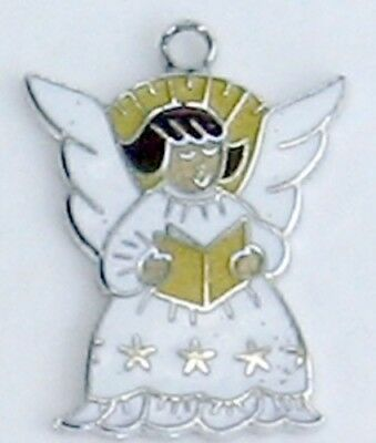 Vintage Sterling Silver Angel Charm Bracelet Signed White Gold Brown Enamel.