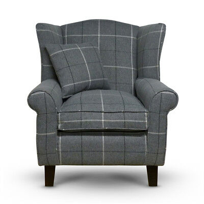 High Wing Back Armchair Tartan Fabric Chair Fireside Seat Living Room Lounge UK