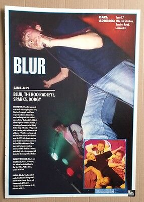 BLUR Original Vintage Melody Maker Festival Guide 1996 ARTICLE ONLY