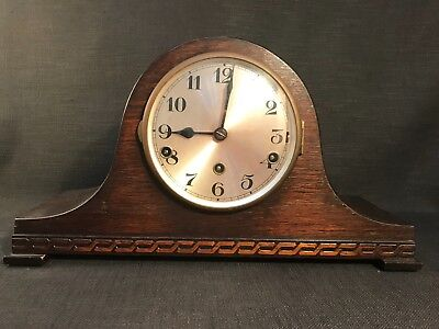 Vintage Art Deco Large Wooden Mantle Clock With Key & Westminster Chimes