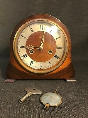 Vintage Art Deco Smiths Enfield Wooden Mantle Clock With Key