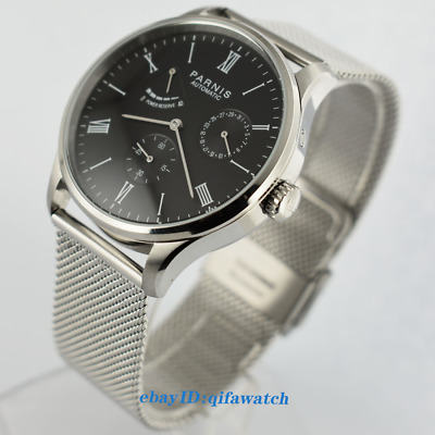 42MM PARNIS Steel Seagull Power Reverse Date Black Dial Automatic Men's Watch