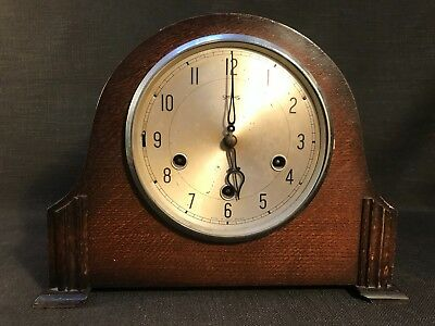 Vintage Art Deco Smiths Wooden Mantle Clock, Westminster Chimes, No Glass Front