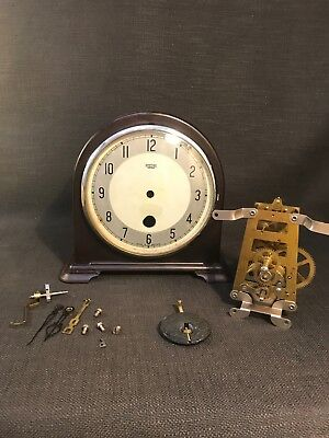 Vintage Art Deco Smiths Enfield Wooden Mantle Clock, Needs Rebuilding