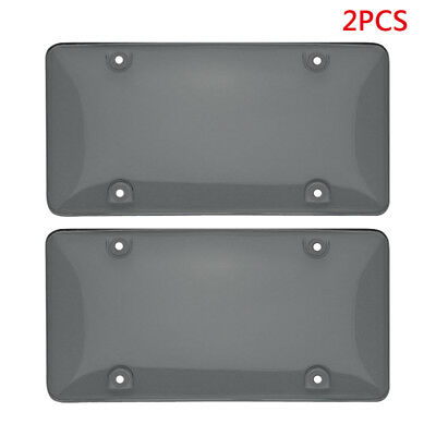2pcs Plastic Smoke License Plate Tag Frame Cover Shield Protector Car Truck