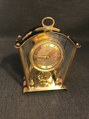 Vintage Schatz & Söhne 8 Day Brass Perspex Cased Carriage Mantle Clock A/F