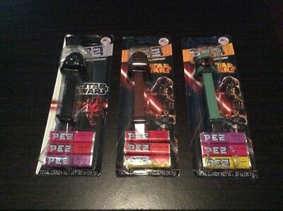 Lot of 3 Star Wars Sealed Pez Dispensers 2012 & 13 Chewbacca, Boba Fett & Vader