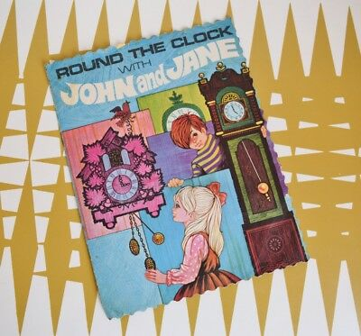 Vintage Round the clock with John & Jane - paper Book - 60s - 70s illustrations