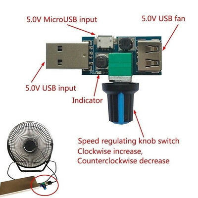 4-12V Micro USB Fan Stepless Speed Controller Regulator Variable Switch Module