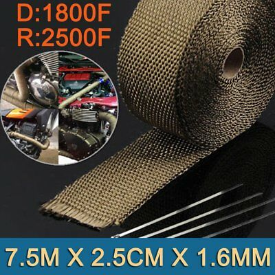 Wrap 25Mm X 7.5M + 6 Stainless Steel Ties 1800F Titanium Exhaust Heat Mn