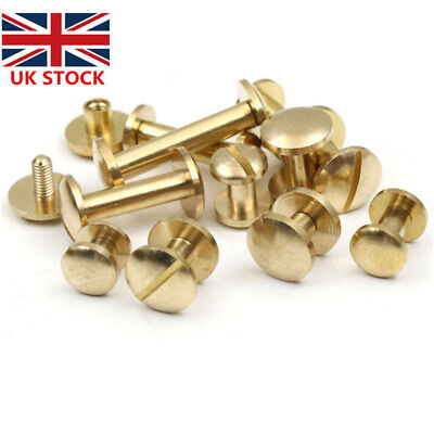 10 x Belt Screw Brass Rivets Stud Head Leather Craft Chicago Nail Wallet 4/6/8mm
