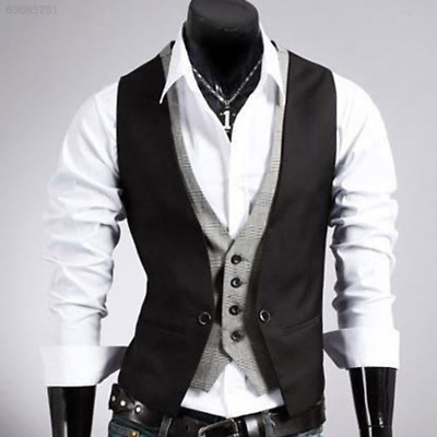 6086 Men's Casual V-neck Double Layered Fit Buttons Vest Waistcoat Slim Jacket T