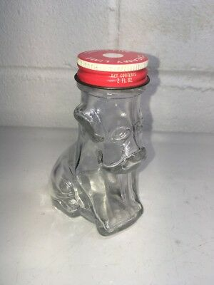 Vintage Empty Lime Bath Bubbles Glass Dog Bottle w/ Lid
