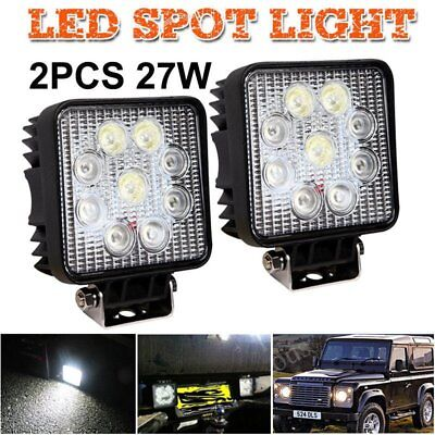 2x LED Flood Beam 27W Work Lights Lamp Tractor SUV Truck Boat 4WD 12V Square MN