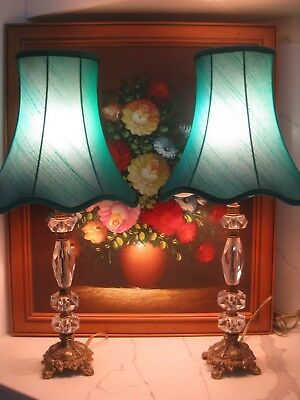 Vintage Bronze & Crystal 1950's Table Lamps