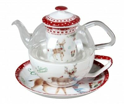 Christmas Xmas Reindeer Teapot Tea Pot Tea For One Fine Bone China w Gift Box
