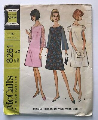 VTG 1960s Dress McCALLS 8261 Sewing Pattern Size 14 Misses Bell Sleeves
