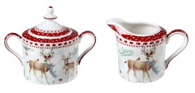 Christmas Xmas Reindeer Sugar and Milk Pot w Gift Box Birthday Xmas Gift