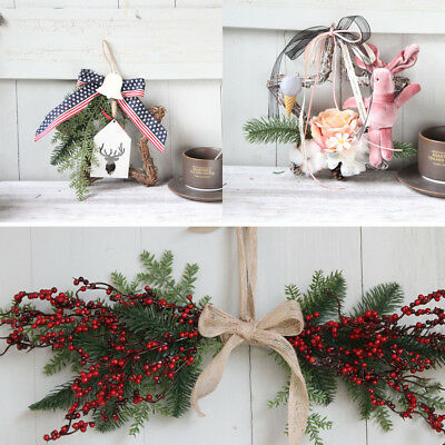 Christmas Wreath Door Wall Ornament Pentagram Hanging Decoration With Bowknot