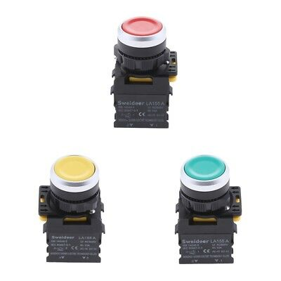 3xHeavy Duty 22mm Mount 10A AC600V 1NO 1NC DPST Momentary Push Button Switch