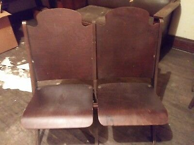 Vintage Theater Seat Double Folding Chair Stadium Love Seat Two Seater p/u 45331