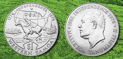 WESTERN SAMOA, 1976  CuNi Crown size, 1 Tala coin U.S. independence coin. AP7058