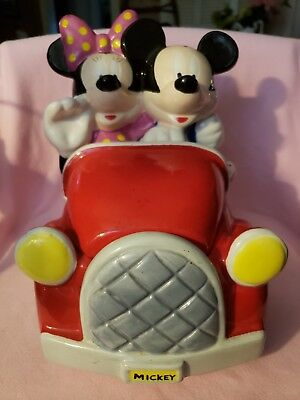Disney Mickey And Minnie Mouse On A Car Ride Collectible Cookie Jar