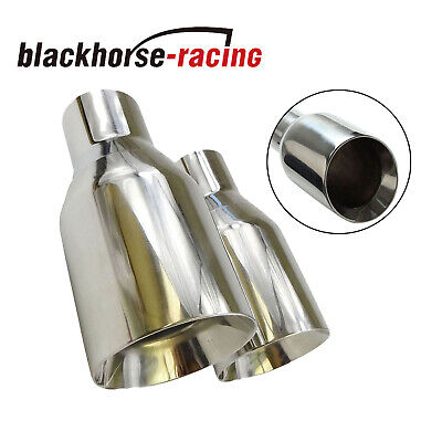 "2PCS 2.5"" In 4"" Out Stainless Steel Polished Exhaust Tip Duo layer Straight"
