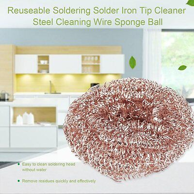 Reuseable Soldering Solder Iron Tip Cleaner Steel Cleaning Wire Sponge Ball#CVX