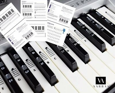 Piano and Keyboard Music Note Stickers for 49/61/76/88 White and Black Keys