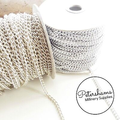 5mm Silver Metal Chain for Millinery, Hat Making & Craft - 1m