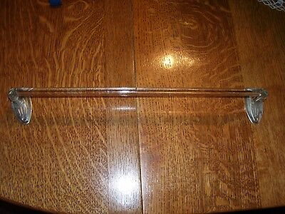 "Vintage Clear Glass Towel Rod Bar with Brackets (17.5"" long),Bath Vanity"