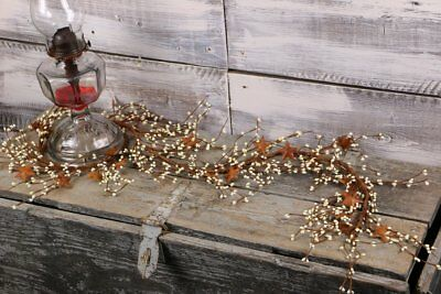 "Country Primitive Rustic 40"" Ivory Pip Berry & Rusty Star Garland"
