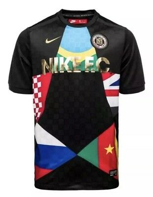 914f14a15c7 NIKE F.C. MENS 2018 WORLD CUP FOOTBALL SOCCER JERSEY Size Large 886872 014  Black