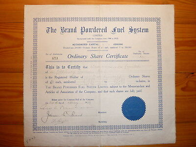 GB: The Brand Powdered Fuel System Ltd., 1929, 500 Shares, *