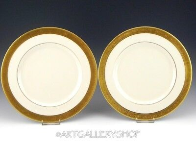 "Lenox WESTCHESTER GOLD GILDED 10-5/8"" DINNER PLATES Set of 2"