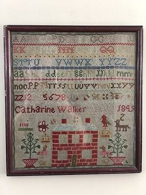 1849 American Sampler Catharine Walker Age 9 Framed House Embroidery Needlework