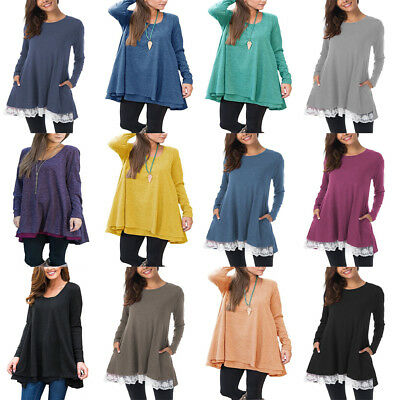 Women Loose Tops T-Shirt Blouse Base Shirt Jumper Pullover Solid Casual Plus