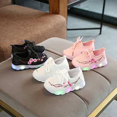 Kids Baby Boys Girls Embroidery Sport Running LED Luminous Mesh Shoes Sneakers