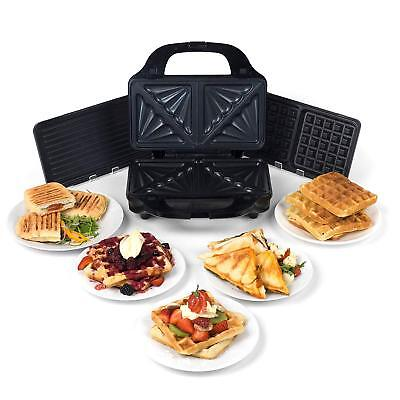 Salter 3 in 1 Deep Fill Panini & Waffle Maker , Hot Snack Non Stick 900W Grill