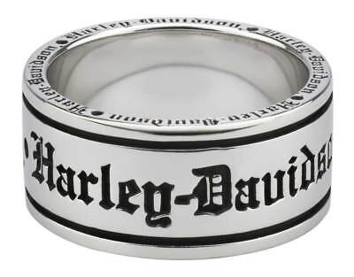 Harley-Davidson Men's Old English Script Band Ring, Sterling Silver HDR0481