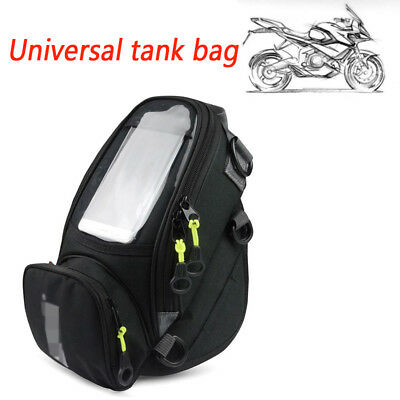 Black Nylon Tank Bag Motorcycle Fuel Mobile Phone Navigation Waterproof Bag